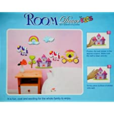 3D Wall Stickers : Castle & Pony : Pink : Top Childrens Gift Idea