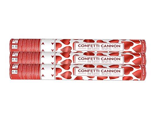 Elfenstall Konfettikanone Konfettishooter mit roten metallischen Herzen für Hochzeit Geburtstag Feier 40 cm (rote Herzen 40 cm, 3 Stück) - 3 Rote Herzen