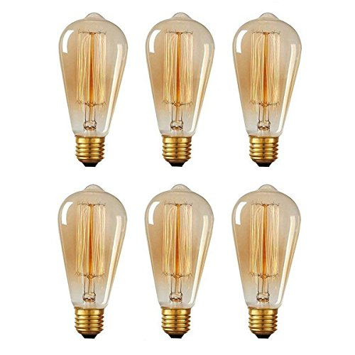 KJLARS 6x Vintage Edison Glühbirne Glühlampe E27 60W ST64 Filament Fadenlampe Für Nostalgie Retro Leuchtmittel -