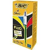 BIC vier Farben Kugelschreiber Fluo – Kugelschreiber dokumentenecht mit roter, blauer, schwarzer und neongelber Mine mit Highlight-Funktion – Schachtel à 12 Stück