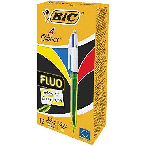 Bic Penna 4 Colors Fluo, Scatola con 12 Pezzi