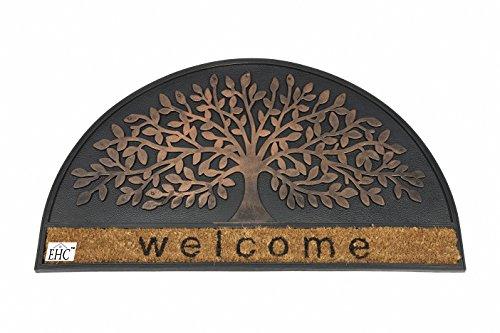 EHC - Cortina per porta in fibra di cocco, 45 x 75 cm, finiture ramate, motivo: albero dell'infinito