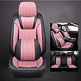 QLL 6 Farben Optionales Autositzkissen Plüsch 360 ° volles Gehäuse High-End-Fußmatte Memory Cotton Kopfstütze,Pink
