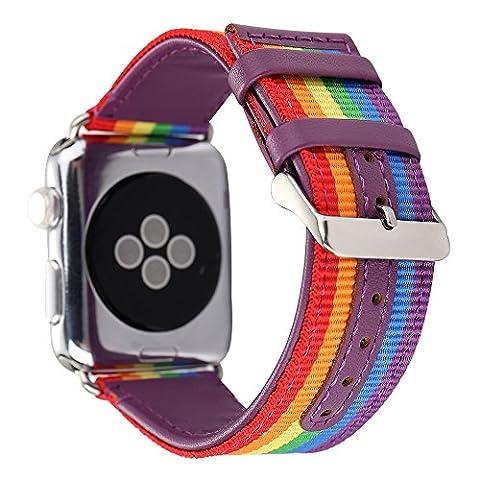 Apple Watch Band, Huanlong en nylon avec sangle de cuir véritable Sport de remplacement Bracelet avec fermoir d'adaptation en métal pour Apple Watch/sport/Edition
