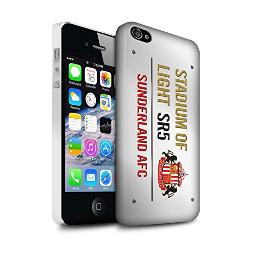 Officiel Sunderland AFC Coque / Clipser Matte Etui pour Apple iPhone 4/4S / Pack 6pcs Design / SAFC Stadium of Light Signe Collection Blanc/Or