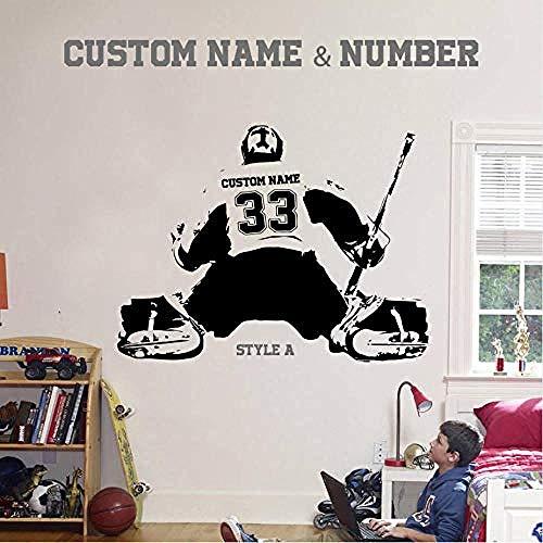 Zykang 3D Wandaufkleber Hockey Goalie & Large Ice Hockey Player Wählen Jersey Name Und Zahlen Wandaufkleber Vinyl Diy Wohnkultur Sport Aufkleber Kinder Room76 * 58 Cm Anpassbare -
