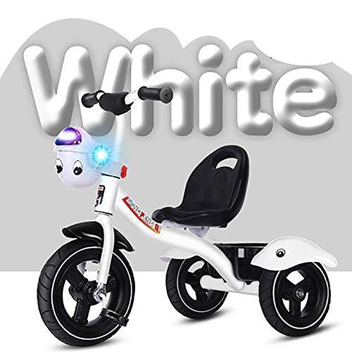 SHARESUN 2 in 1 Kinder Childen Trike Dreirad Fahrrad mit Musik Front Basket, High Carbon Stahlrahmen Titan leeres Rad 3 Wheel Pedal Bike, für 2-6Years alt,White