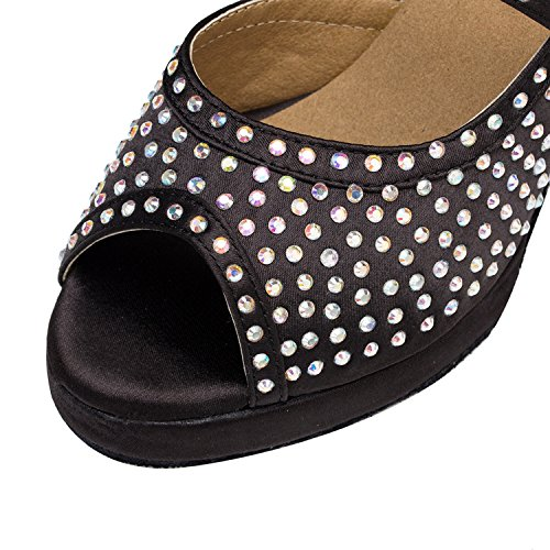 Minitoo – th129 Mary Jane piattaforma raso matrimonio ballo Latina taogo Dance Sandals Black