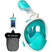 Helloyee - Máscara de esnórquel compatible con GoPro para adultos y niños. Máscara completa con diseño antifugas y antivaho, con funda impermeable para teléfono, SKM02-GN-WT-XS, Green-White For Kids, XS-For Kids