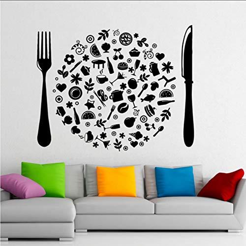 (Mhdxmp)BesteckAufkleber Lebensmittel Aufkleber Cafe Art Interior Haushaltswaren Design Home Küche Dekor Küche Home Deco71 * 57 Cm Cafe Küche Dekor