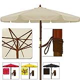 Sonnenschirm Gartenschirm Terrassenschirm aus Holz -  350cm Beige