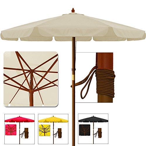Sonnenschirm Gartenschirm Terrassenschirm aus Holz - Ø 350cm Beige