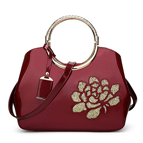 AllhqFashion Women's Einkaufen Umhängetaschen Blumen Clutch Handtaschen, Weinrot