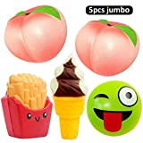 #6: 5pcs Jumbo Squishies Peach Lemon Ice Cream Cone Bun French Fries Squishies Slow Rising Squeeze Kawaii Scented Charms Hand Wrist Toys