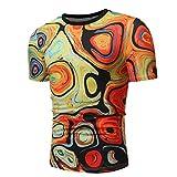 Herren Mehrfarbig Print Crew Neck Pullover Short T-Shirt Top Blouse GreatestPAK,L,Mehrfarbig