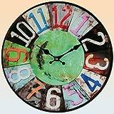 Freudenhaus Glas Uhr Vintage Colours 38 cm grün schwarz Uhr aus Glas im Vintage Look für Retro-Fans, die das Shabby-Gefühl lieben, rote Quarz-Uhr mit Aufhänger, batteriebetrieben