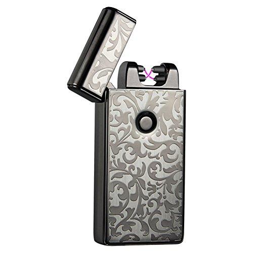 Qimaoo Zigarettenetui Zigarettenbox mit Integriertem Feuerzeug Zigarettenanz&uumlnder f&uumlr 10 Zigaretten Zigarettenschachtel Schwarz