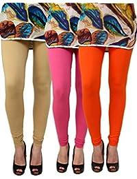 Anekaant Pack Of 3 Cotton Lycra Free Size Women's Legging -Beige, Pink, Orange