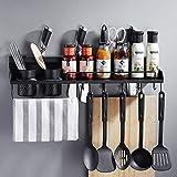 Shuihua-zwj Schwarzes 304 Edelstahl-Küchenregal, Wand-hängendes Messer-Rack-Gewürz-Zahnstange, mit Essstäbchen-Rohr-Küchen-Hardware (größe : 60cm)