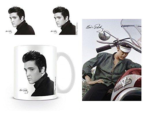 Set: Elvis Presley, Love Me Tender Foto-Tasse Kaffeetasse (9x8 cm) Inklusive 1 Elvis Presley Postkarte (15x10 cm) -