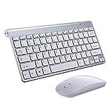 Tastiere e Mouse Wireless,SUAVER Tastiere ultra slim compatte Set tastiera e Mouse senza fili 2.4G,Ottico Mouse(DPI 800/1200/1600) per PC Laptop Windows Mac (Argento)