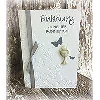 Einladung Einladungskarte Kommunion Konfirmation Schmetterling Kelch grau hellgrau silbergrau