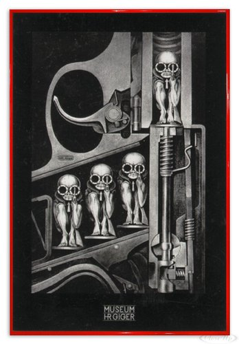Hr Gerahmt (Close Up Hr Giger Poster Birthmachine (94x63,5 cm) gerahmt in: Rahmen rot)
