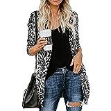 MYMYG Lang Strickjacke Damen Elegant Mantel Langarm Leopard Print Mode Mantel Blouse T-Shirt Tunika Tops Cardigan Blazer Jacke Coat Winterpullover