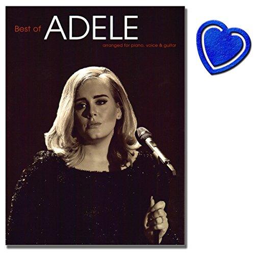 Preisvergleich Produktbild Best of Adele - Songbook für Klavier, Gesang, Gitarre - New Edition 2016 - mit bunter herzförmiger Notenklammer