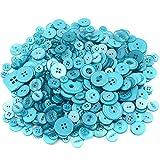 Dosige 600pcs Knopf Harz Bastelknöpfe DIY Knöpfe für Nähen Handwerk Scrapbooking Deko Handgefertigte Verzierung (Hellblau Serie)