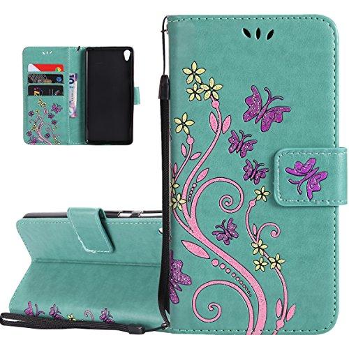 Custodia Xperia E5, ISAKEN Flip Cover per Sony Xperia E5 con Strap, Elegante borsa Tinta Unita Farfalla Design in Sintetica Ecopelle PU Pelle Protettiva Portafoglio Case Cover con Supporto di Stand /  Flowers: verde