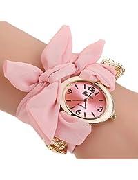 Pink : ALCYONEUS Casual Sweet Bow Cloth Strap Round Dial Quartz Bracelet Wrist Watch For Woman