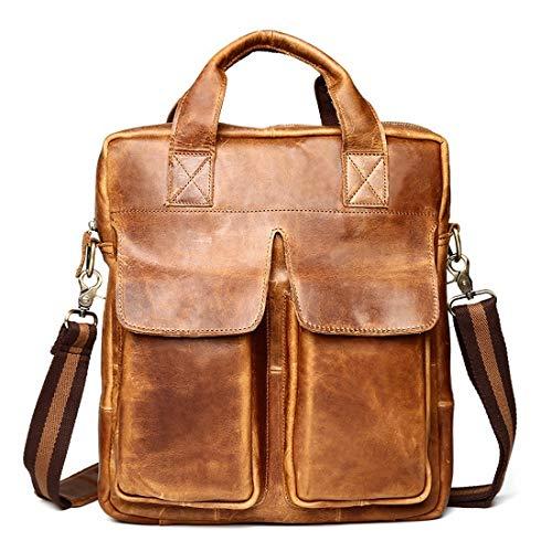 Preisvergleich Produktbild Mifusanahorn Herren Crazy Horse Leder Handtasche Tasche Vintage Leder Messenger Bag Schultertasche Laptoptasche Aktentasche Umhängetasche für 13 Zoll (Color : Brown)
