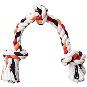 Dogspot Three Knot Cotton Rope Toy, Large (Colour May Vary)
