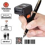 Tera Lettori di codice a barre 2D ad Anello Indossabile Scanner Codici a Barre Bluetooth Testa di Scansione da 1 Megapixel con Allarme di Vibrazione per PC Smartphone Tablet