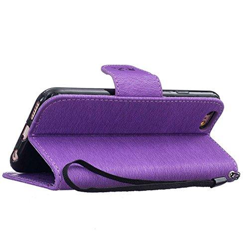Guran® PU Ledertasche Case für Apple iPhone 7 Plus Smartphone Flip Cover Stent-Funktion und Karte Slot Hülle Retro Bären Etui - Braun Lila
