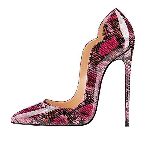 EDEFS Scarpe col Tacco Donna Classico Ritaglio High Heels Chiuse Davanti Scarpa Python-red
