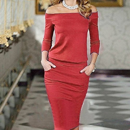 Culater® Mini-robe Femmes Bandage Bodycon Manches Longues Sexy Party Soirée Rouge