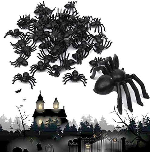 Animierte Halloween Bilder (ILOVEDIY 50Stück Mini Spinnen Plastik Halloween Deko Horror schwarz)