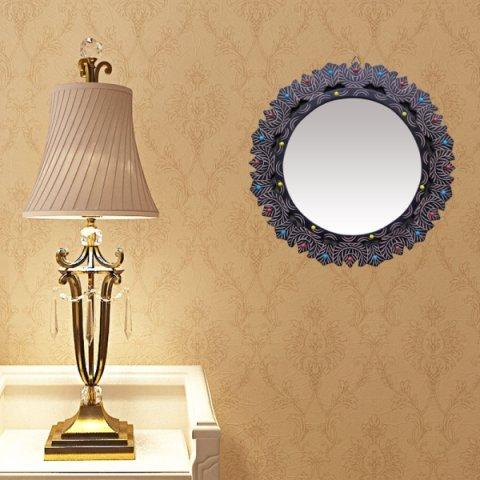 Onlineshoppee MDF Decorative Wall Mirrorr Round Shape Size(LxBxH-16x0.5x16) Inch