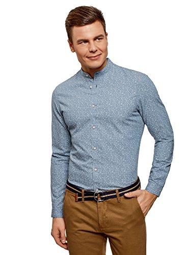 Oodji ultra uomo camicia stampata con colletto rialzato, blu, 41cm/it 48/eu 50/m