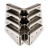 SO-TECH 4 x SO-TECH Winkelbeschlag Stahl vernickelt 125 x 125 x 54 mm mit seitlichen Anschraublöchern