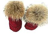 HX fashion Mützen Damen Und Baby 2 Per Elegance Mit Classic Warmen Innenband Angenehm Weiche Mit Feinem Elegantem Caps Kleidung (Color : WineRed, Size : One Size)