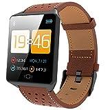 AFDK Smart Watch Ck19, Rastreador de actividad física a prueba de agua, Monitor de oxígeno en sangre/Contador de pasos, Reloj deportivo con Android e Ios - Tres colores,marrón