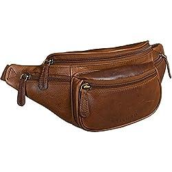 STILORD 'Eliah' Vintage Bolso de Pecho Bolso Bandolera de Cintura con correa Vintage Riñonera para móvil & la cámara digital, de cuero auténtico de búfalo, Color:cognac marrón oscuro
