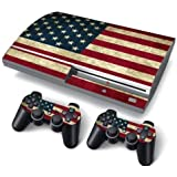 PS3 FAT PlayStation 3 ORIGINAL Skin Stickers PVC for Console + 2 Controllers/ Pads Decal Protector Cover Art Leather Effect USA by Funky Planet