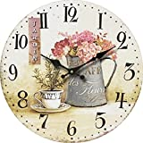 Tinas Collection Nostalgie Wanduhr Ø30 cm, Motiv Jardin Blumen in Vase, Shabby Look