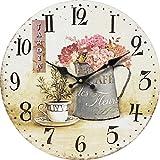 Tinas Collection nostalgische Wanduhr mir dem Motiv Blumen in Vase