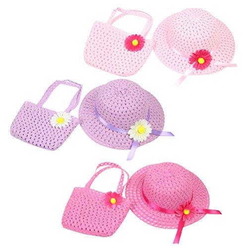 nnenblumen Strohhut Floppy Beach Sonnenblende Hut mit Geldbörse Tea Party Hut für Mädchen ()