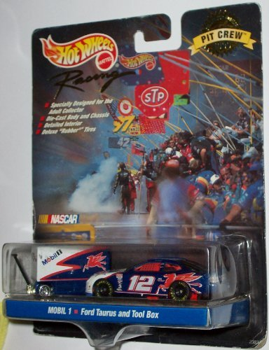 mattel-hot-wheels-pit-crew-collector-edition-1999-nascar-racing-mobil-1-12-ford-taurus-and-tool-box-